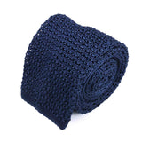 Navy Blue crochet knitted tie - serafinesilk
