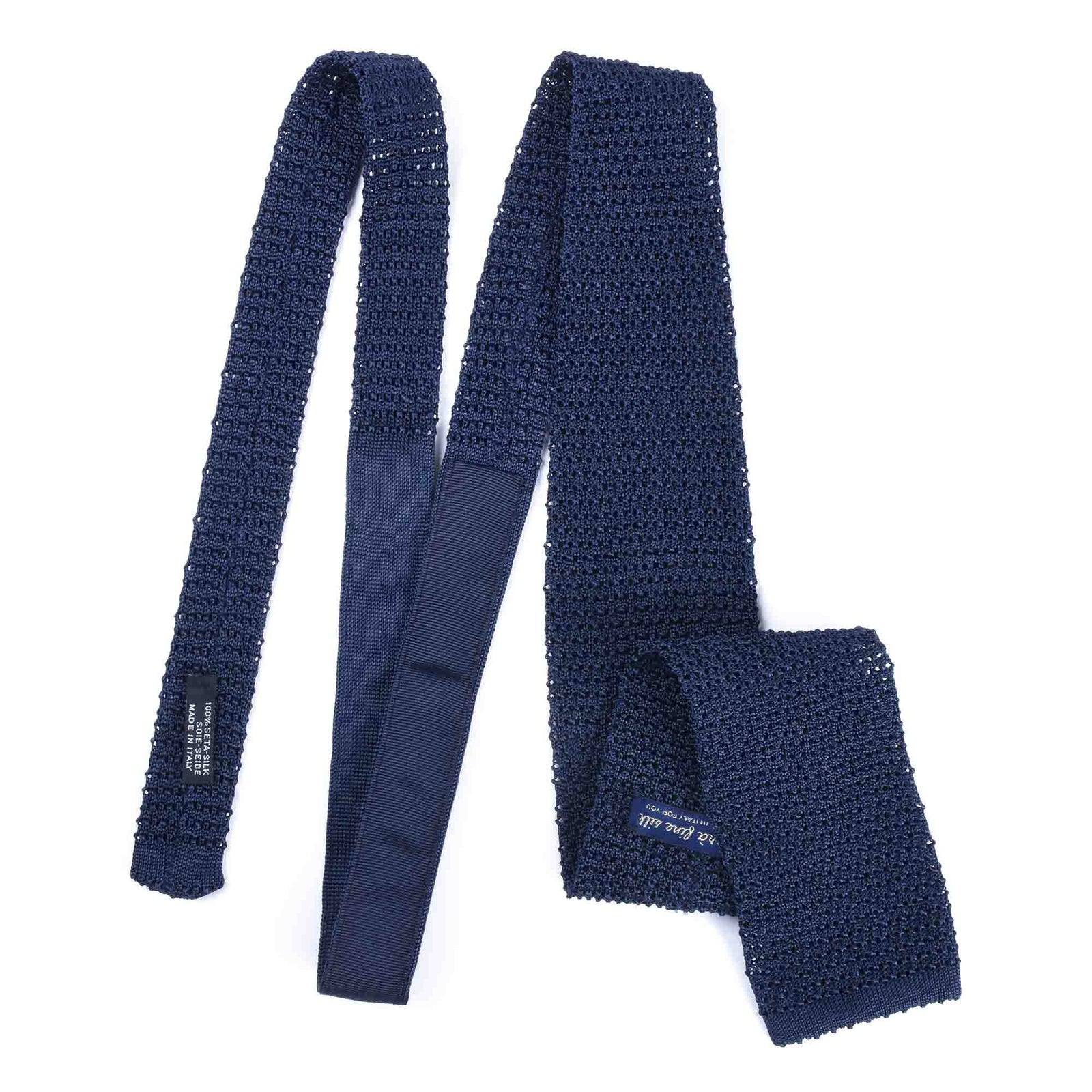KNITTED CROCHET NAVY BLUE TIE