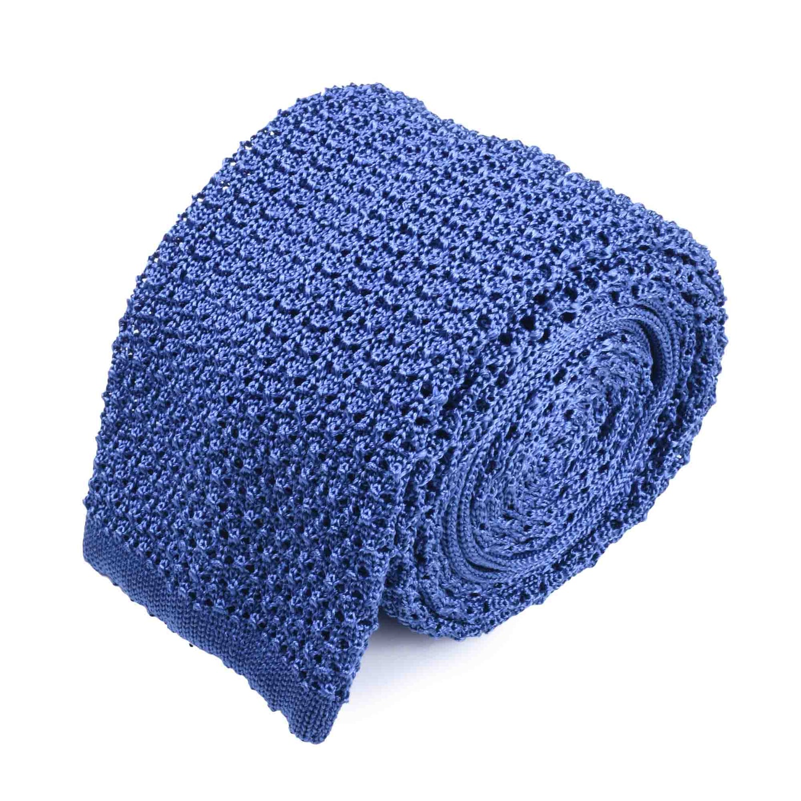 Light Blue Crochet Knitted Tie - serafinesilk