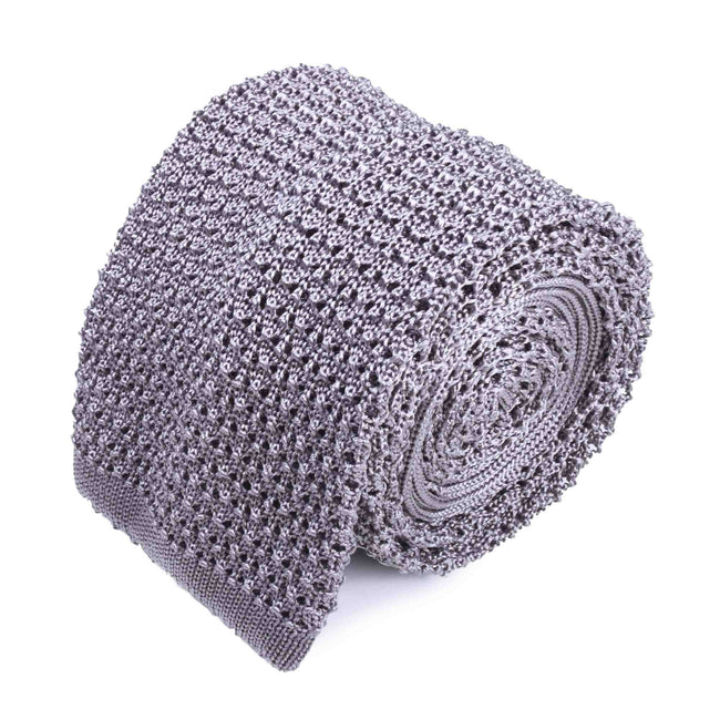 KNITTED CROCHET LIGHT GREY TIE