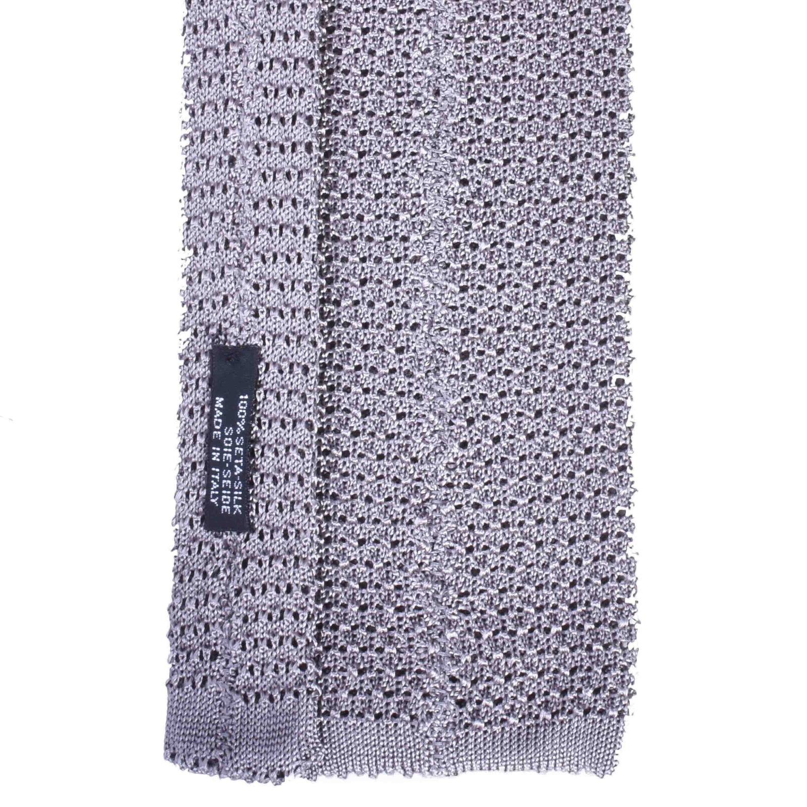 KNITTED CROCHET LIGHT GREY TIE - serafinesilk