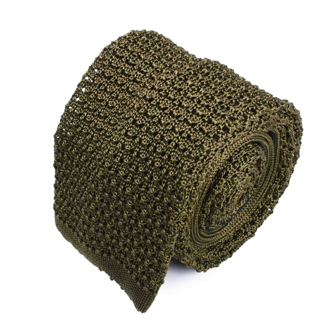 KNITTED CROCHET OLIVE GREEN TIE