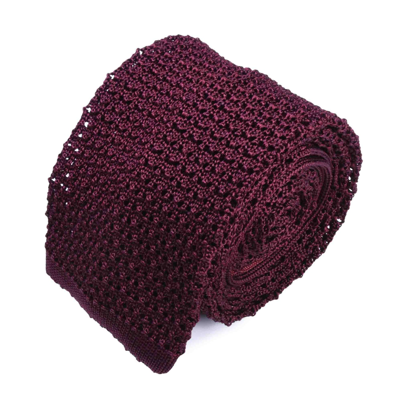 KNITTED CROCHET OXBLOOD TIE
