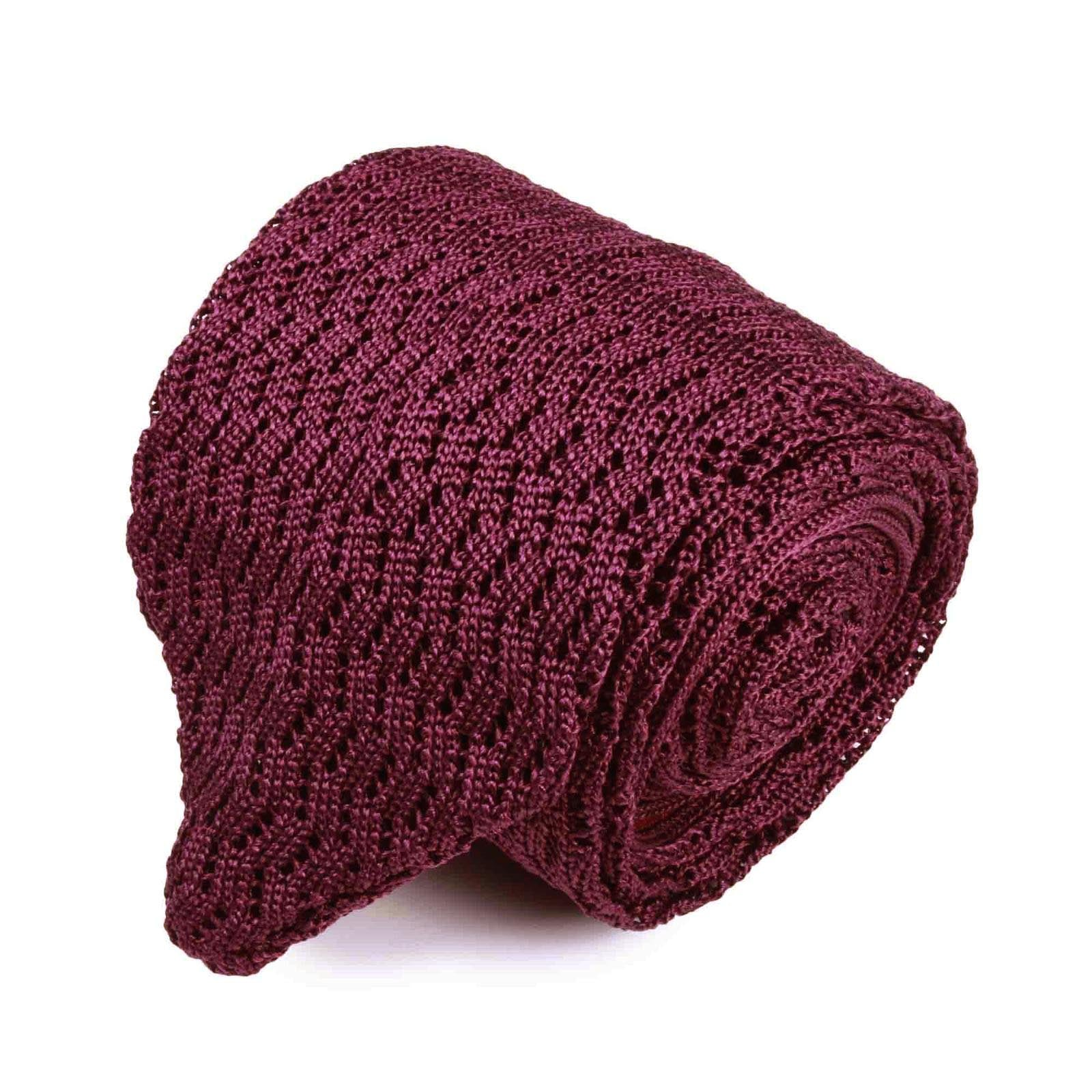 Burgundy Zig Zag V Point Knitted Tie - serafinesilk