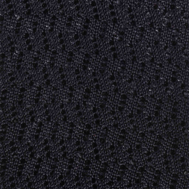 KNITTED ZIG ZAG BLACK V-POINT  TIE