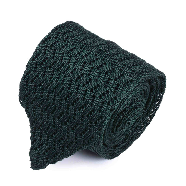 KNITTED ZIG ZAG FOREST GREEN V-POINT TIE