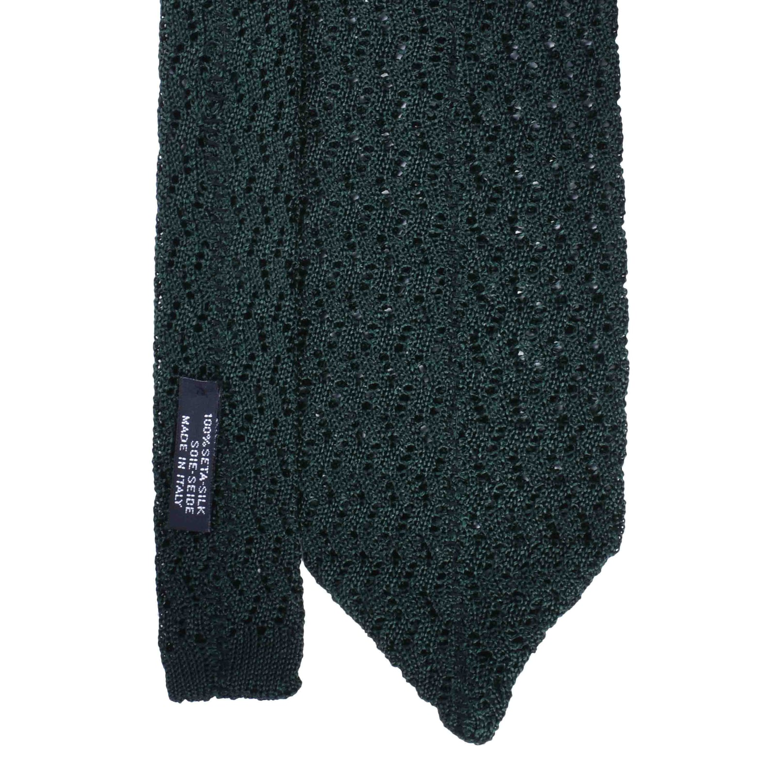 Forest Green Zig Zag V Point Knitted Tie - serafinesilk