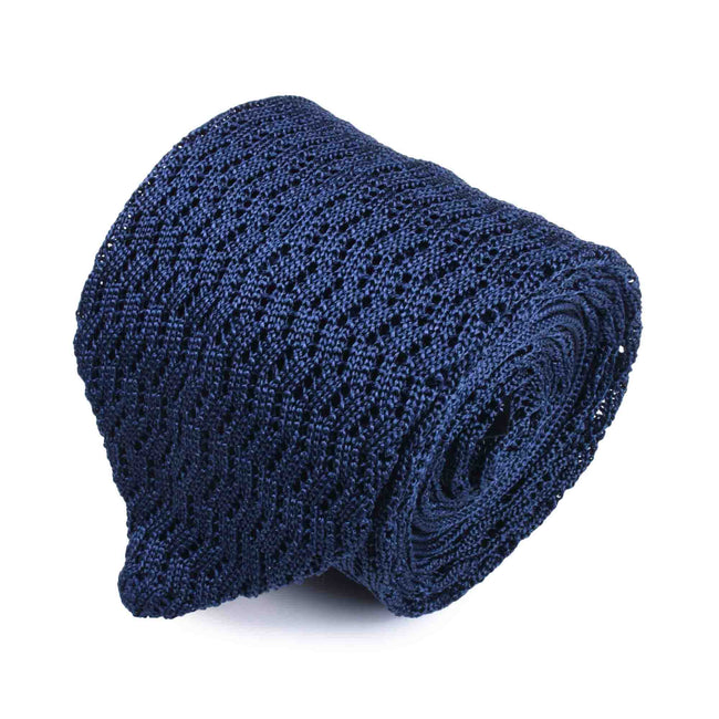 KNITTED ZIG ZAG NAVY BLUE V-POINT  TIE