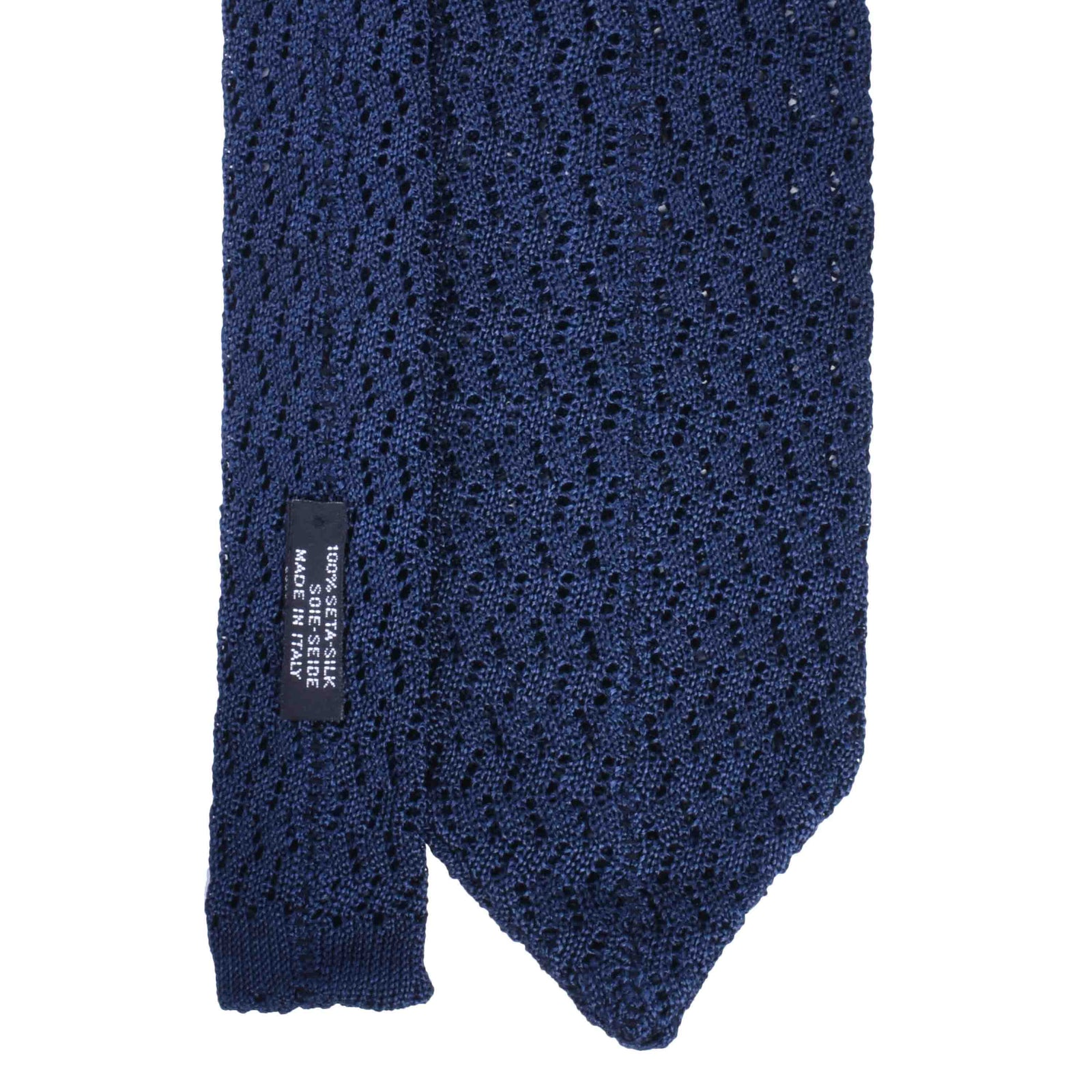 Navy Blue zig zag V point knitted tie - serafinesilk