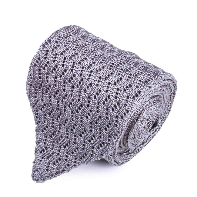 KNITTED  ZIG ZAG V-POINT LIGHT GREY TIE