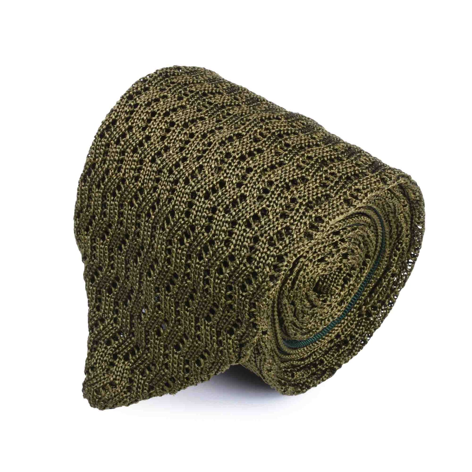 Olive Green Zig Zag V Point Knitted Tie - serafinesilk