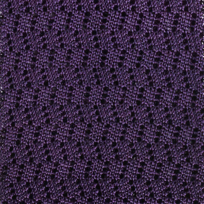KNITTED ZIG ZAG DARK PURPLE V-POINT TIE