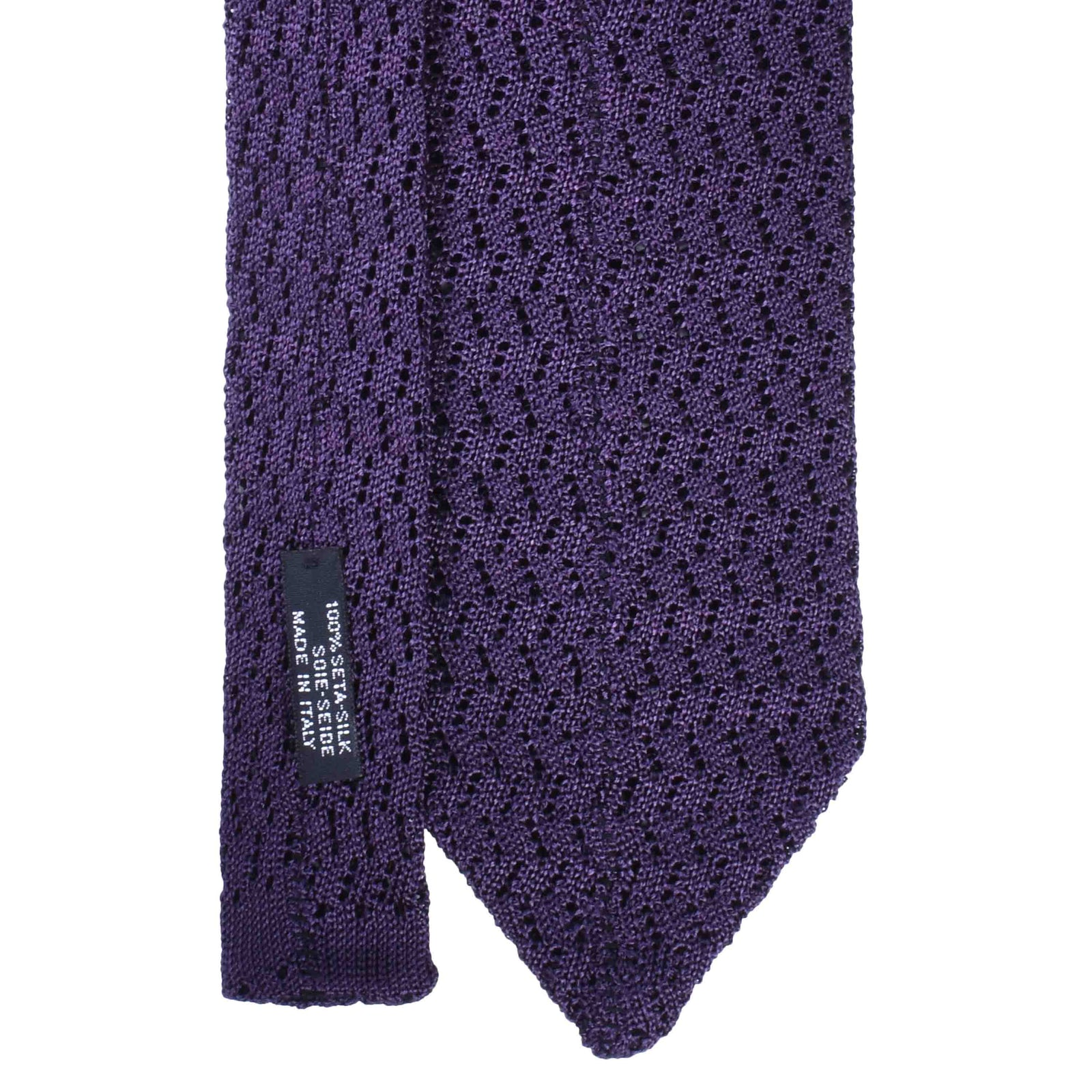 Dark Purple Zig Zag V Point Knitted Tie - serafinesilk