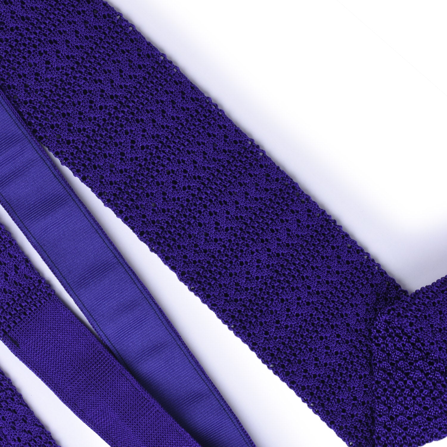 Purple Striped Knitted Tie - serafinesilk