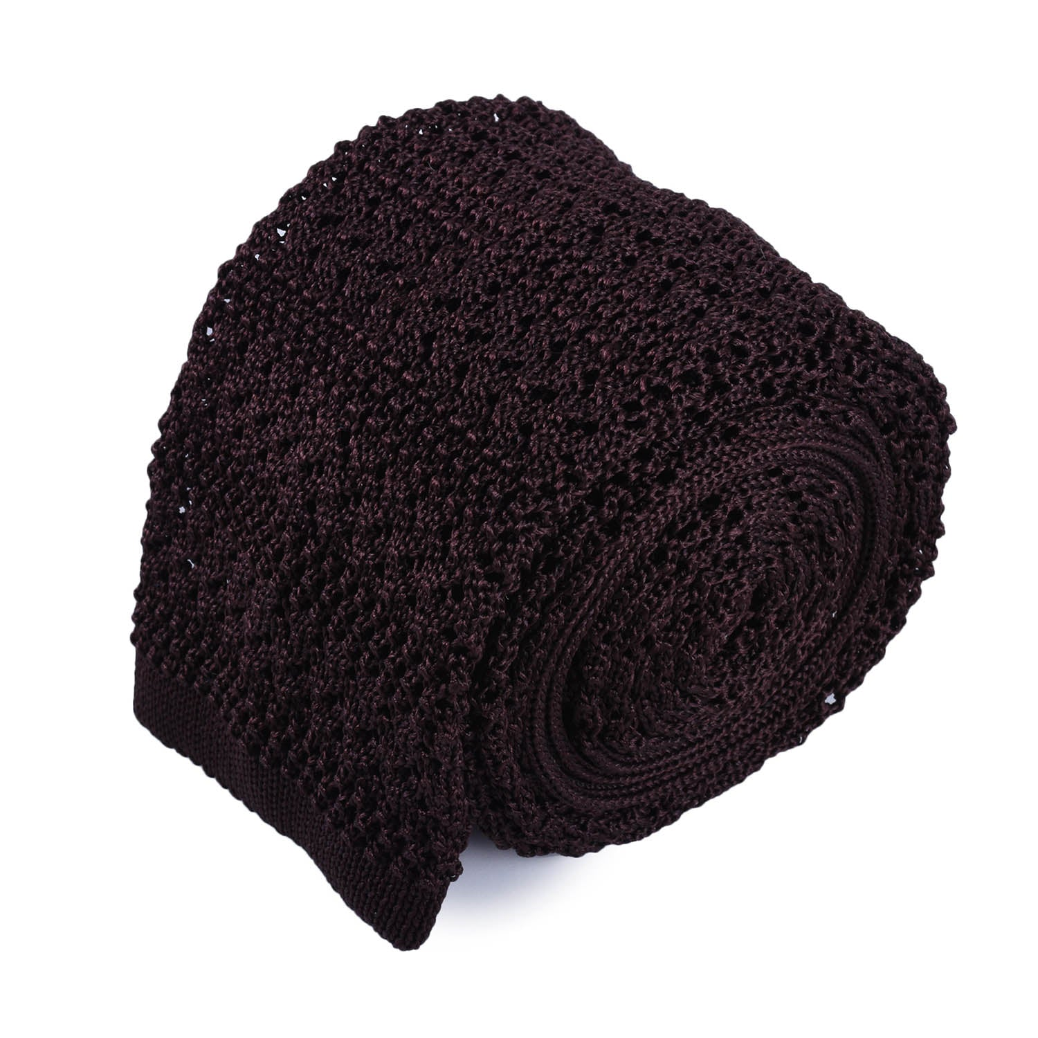 Dark Brown Striped Knitted Tie - serafinesilk