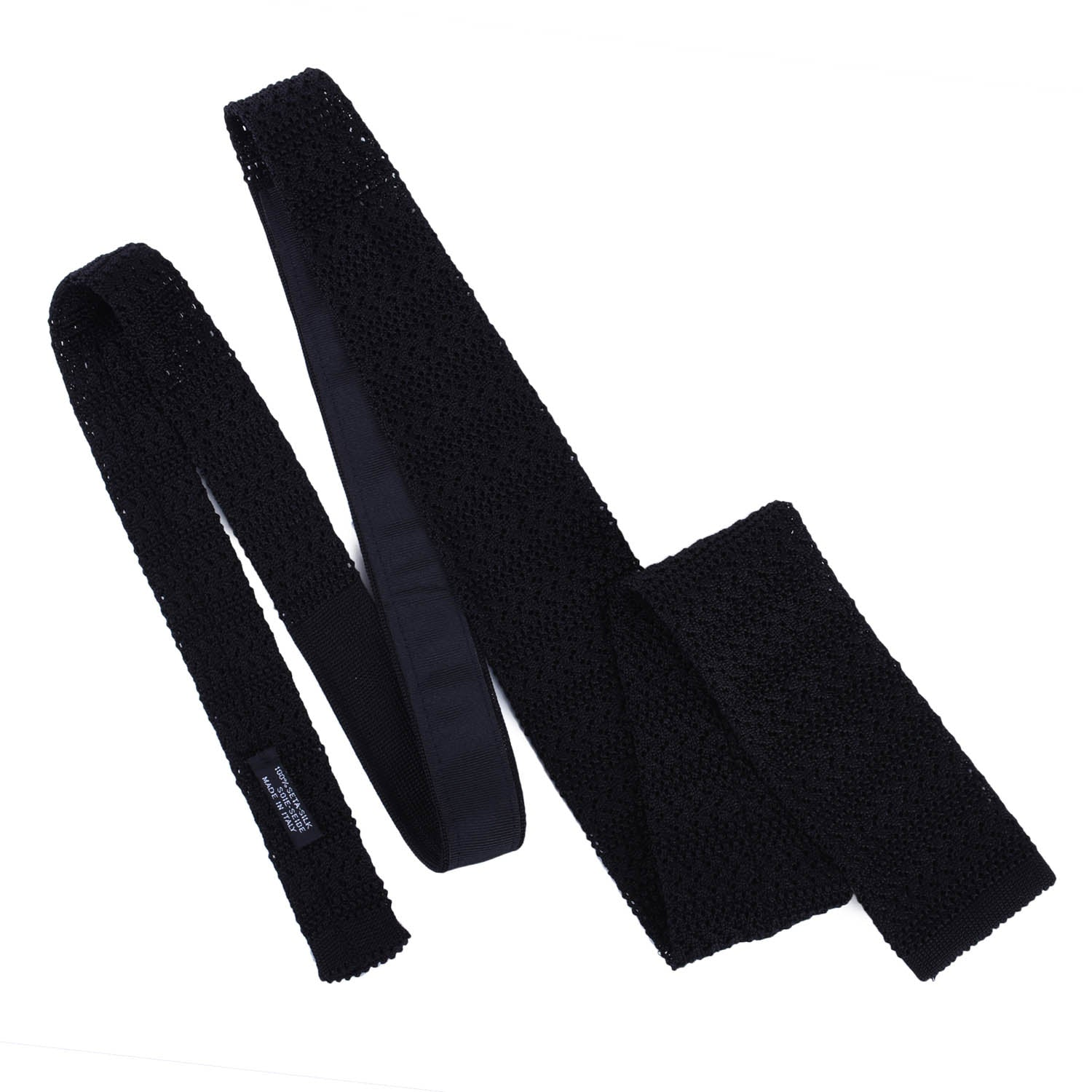 Black Striped Knitted Tie - serafinesilk
