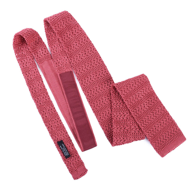 Salmon Striped Knitted Tie - serafinesilk