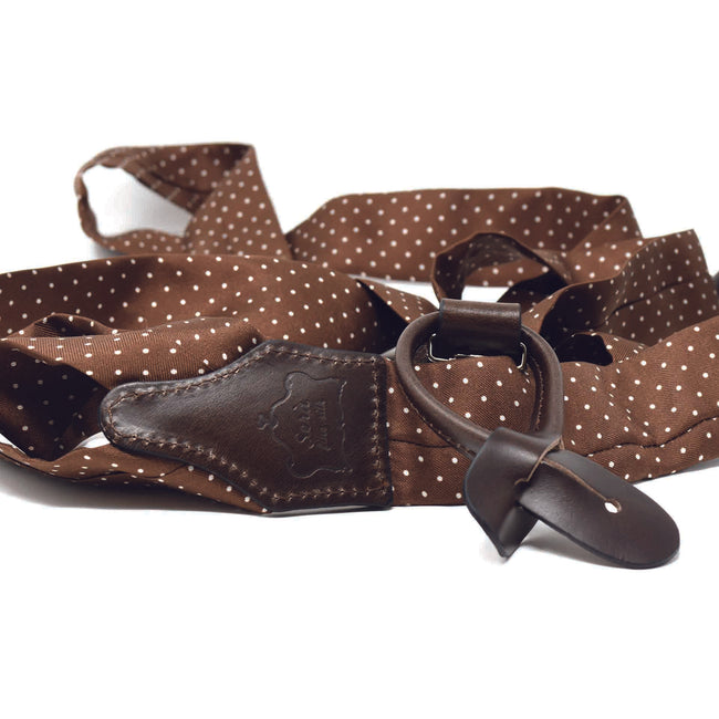 Brown w/ Polka Dots Silk Suspenders - serafinesilk
