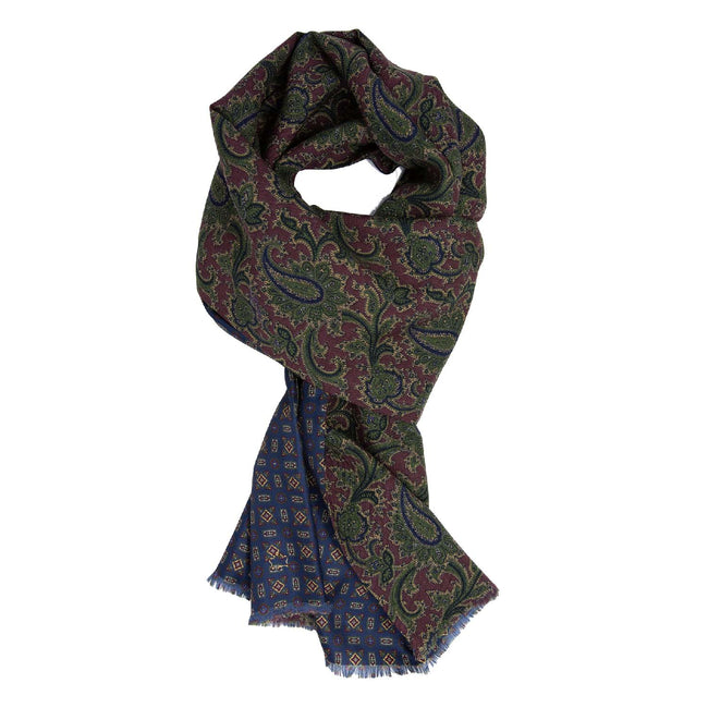 serà fine silk - Burgundy and Blue Pattern Silk & Wool Scarf