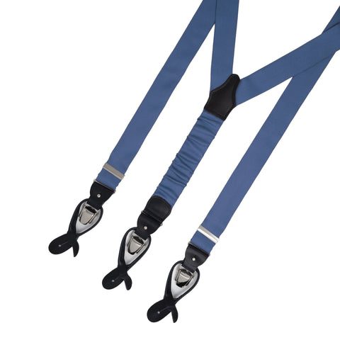 Navy Blue with Black Leather Silk Suspenders