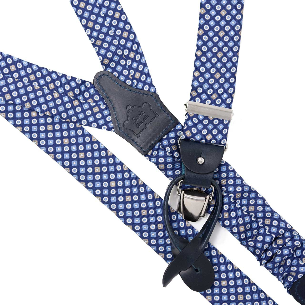 Blue with Beige Dots Silk Suspenders - serafinesilk