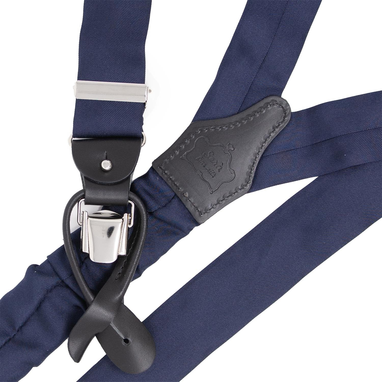 Navy Blue with Black Leather Silk Suspenders - serafinesilk