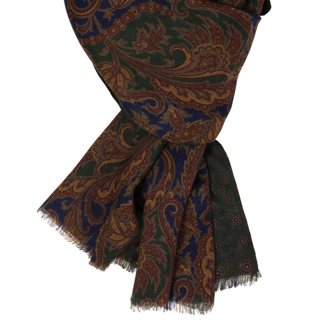 serà fine silk - Blue and Green Paisley Wool & Silk Scarf