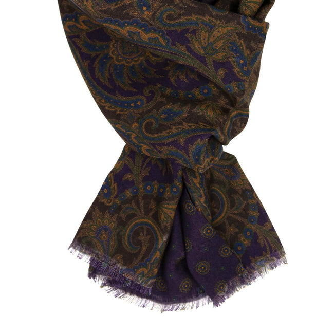 serà fine silk - Brown and Purple Paisley Wool & Silk Scarf