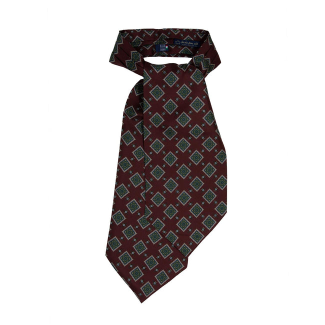 SERà FINE SILK - Burgundy with squares pattern Silk Ascot