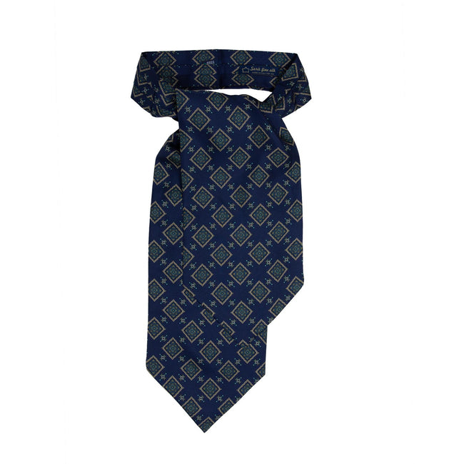 serà fine silk - Blue with squares pattern Silk Ascot