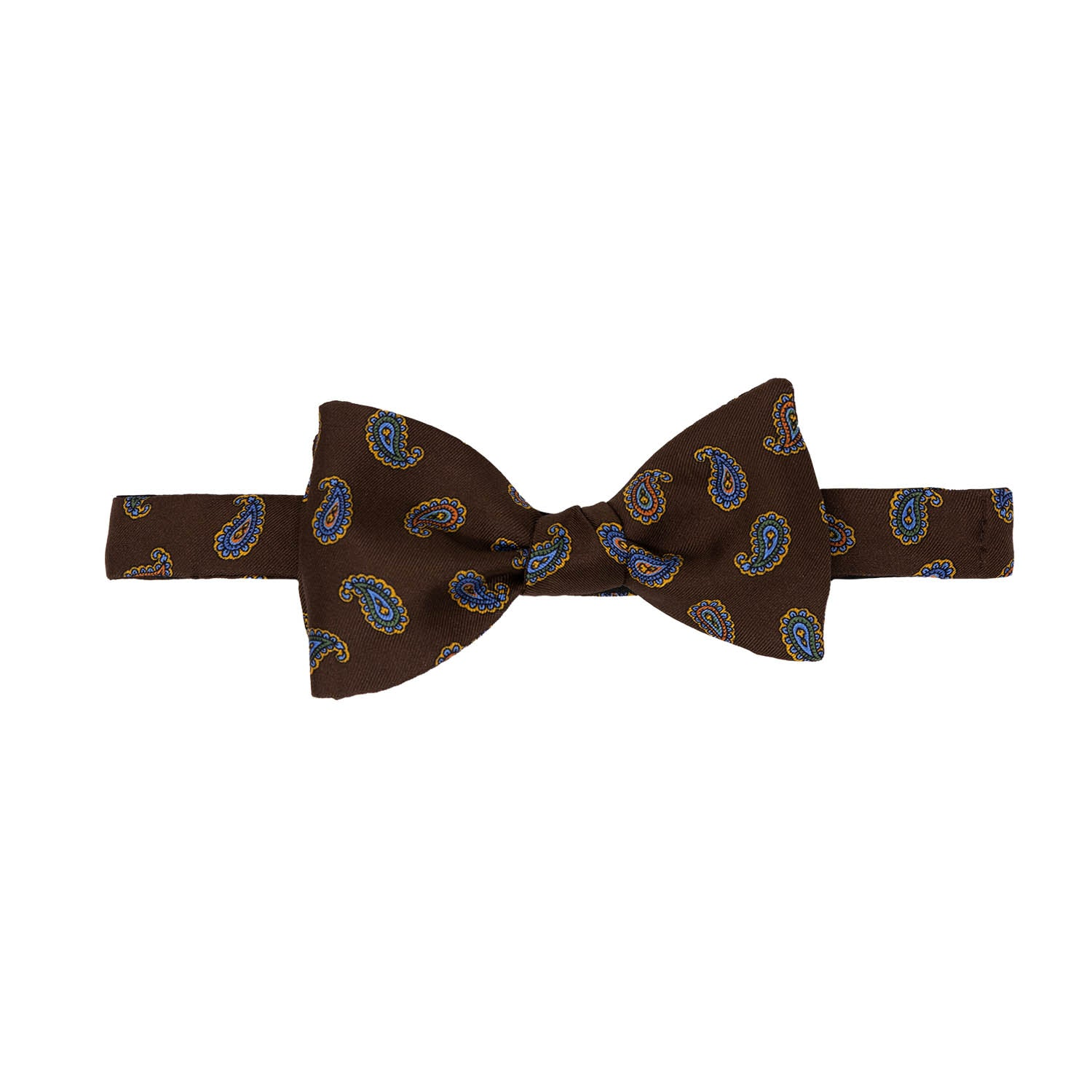 Brown paisley Self-Tie Silk Bow Tie - Serà fine silk