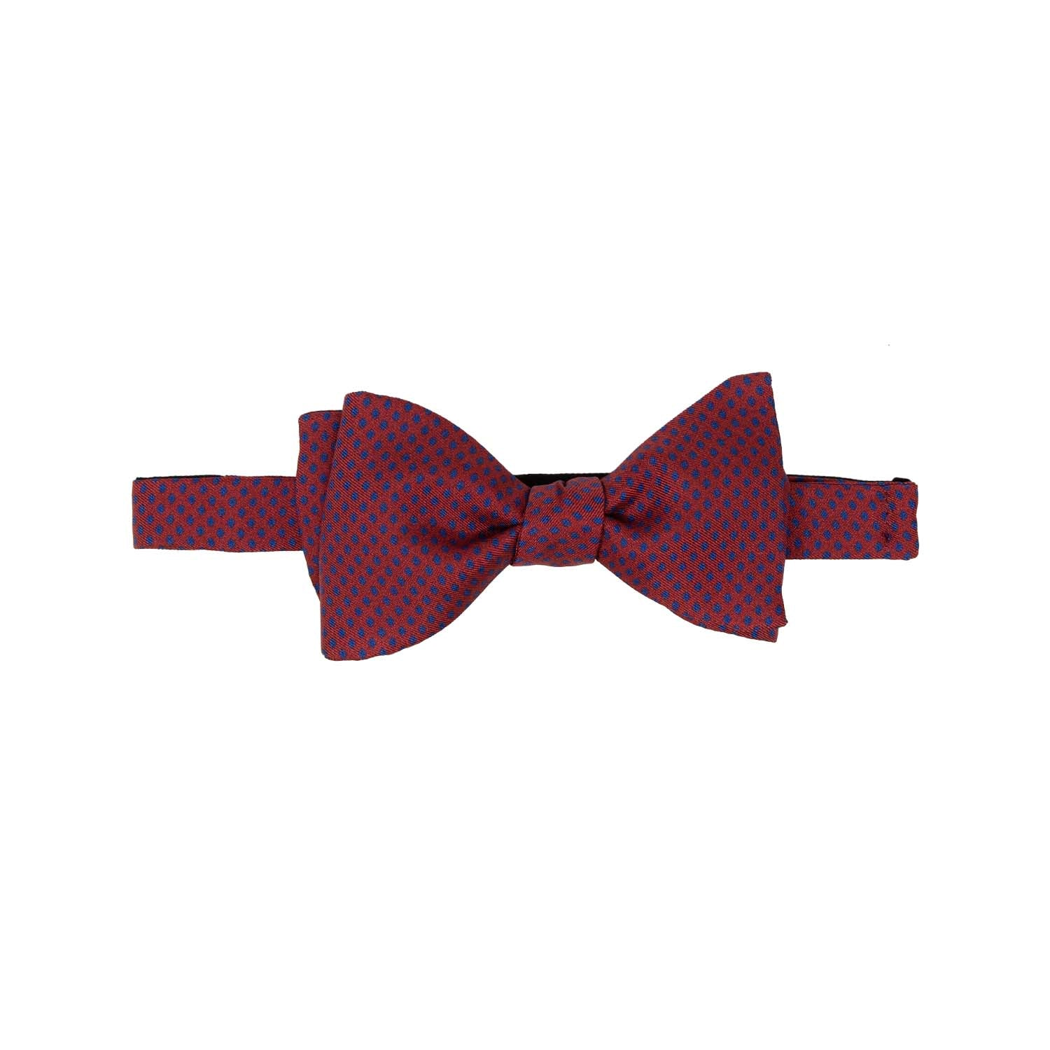 serà fine silk - Red with Blue Dots Self-Tie Silk Bow Tie