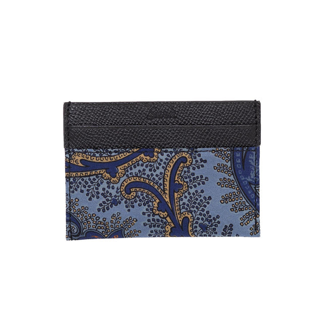 serà fine silk - Light Blue Floral Paisley Card Holder