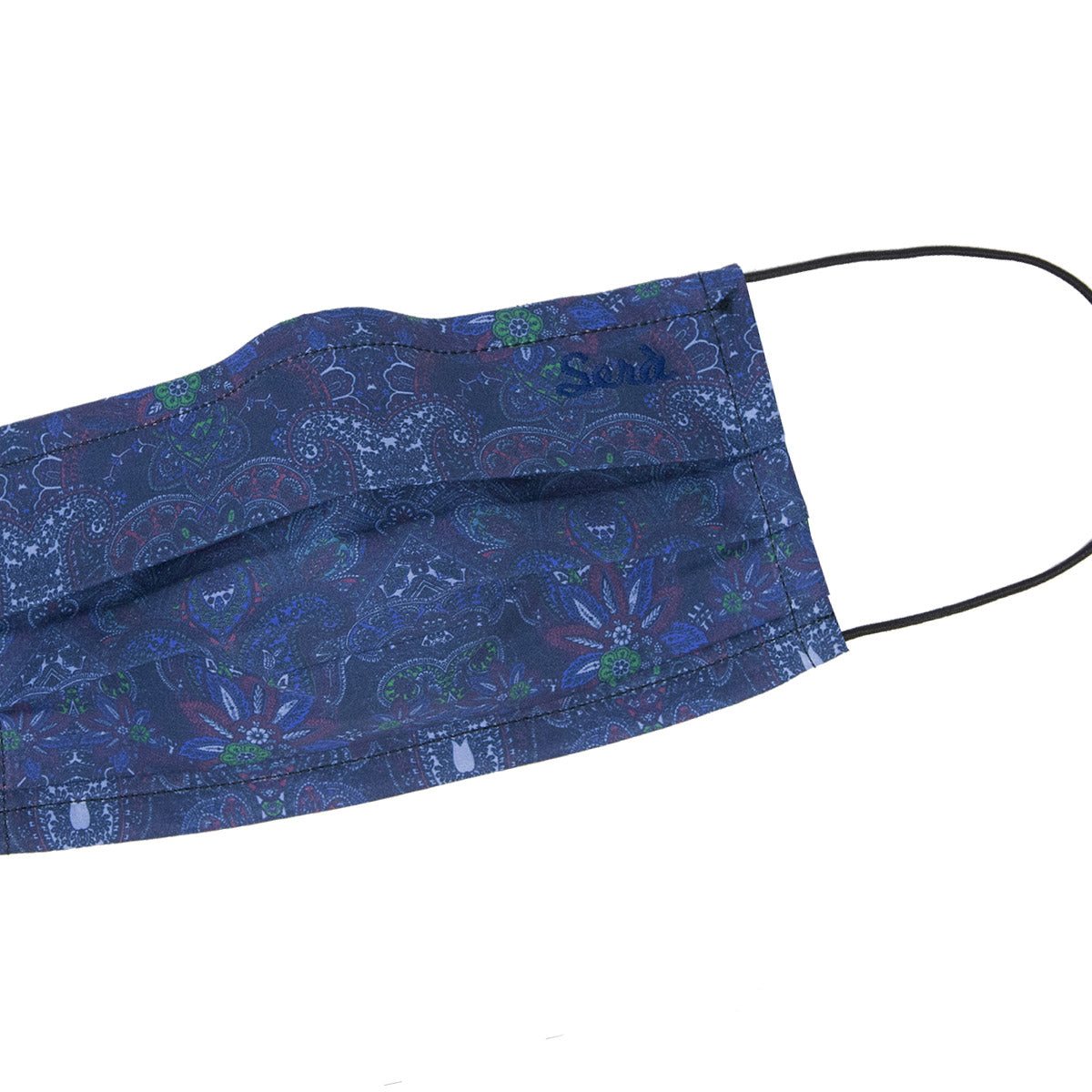 serà fine silk - Navy Blue floral paisley cotton face cover