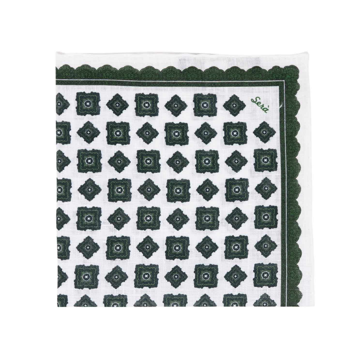 serà fine silk - Green Rombs Linen Pocket Square