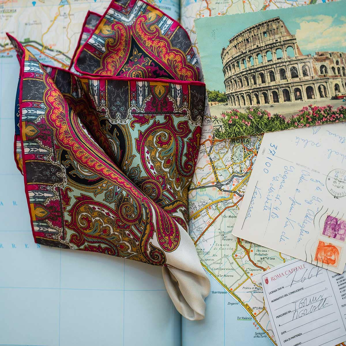 Serà fine silk - italian cities pocket square - Roma
