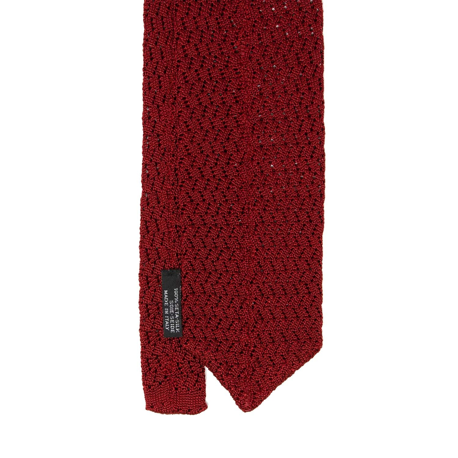 serà fine silk - Red Zig Zag V Point Knitted Tie
