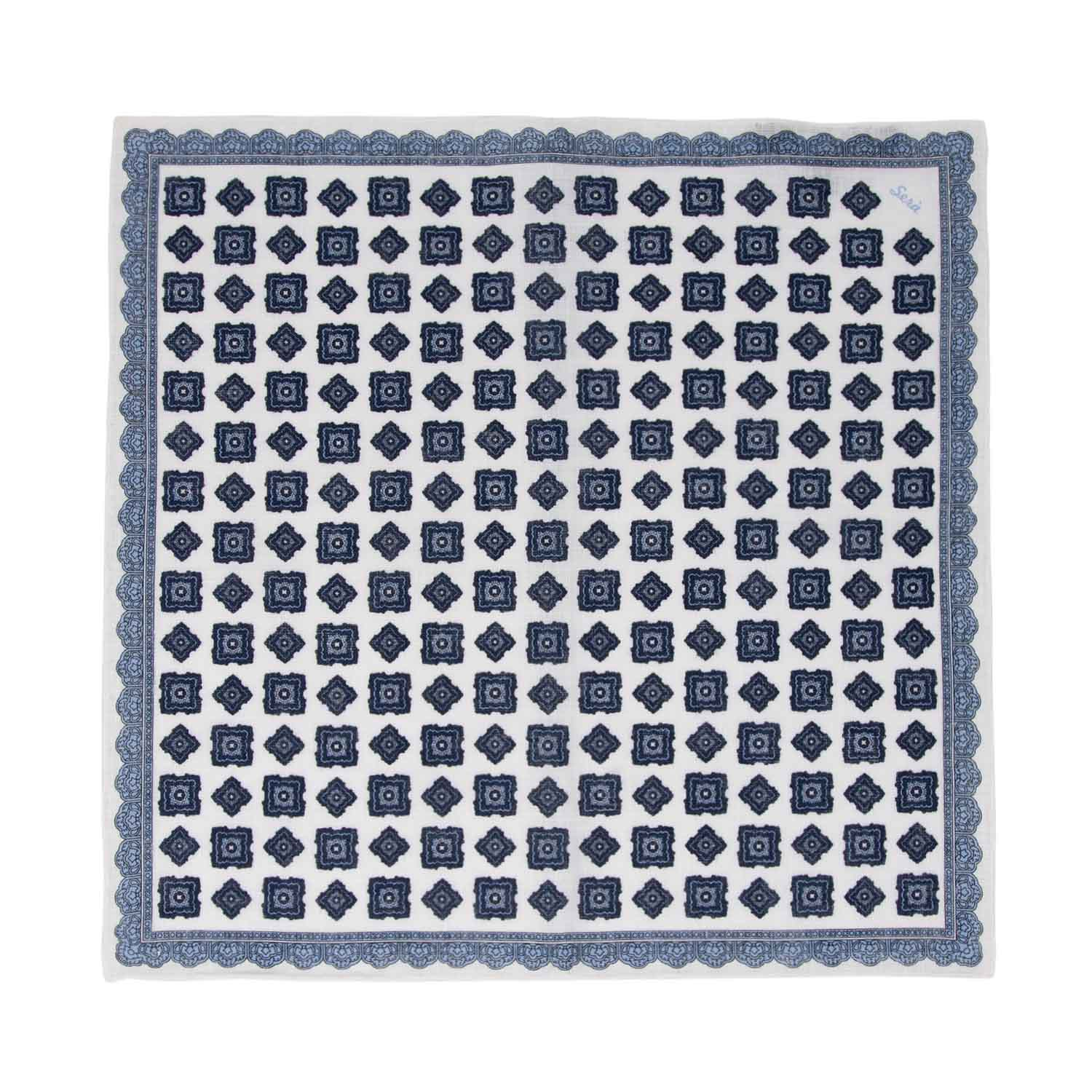 serà fine silk - Light Blue Rombs Linen Pocket Square