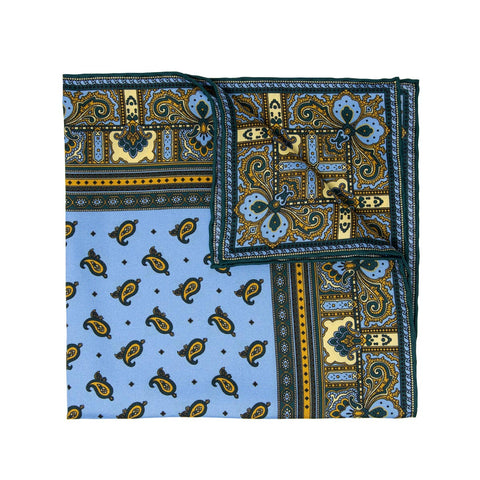 Dust Blue and Grey Paisley Cashmere & Silk Scarf