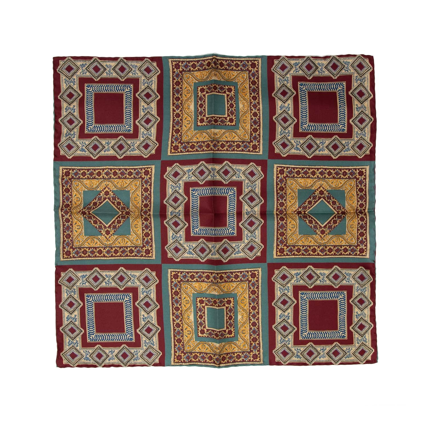serà fine silk - Burgundy and Sage Green Vintage Pattern Pocket Square
