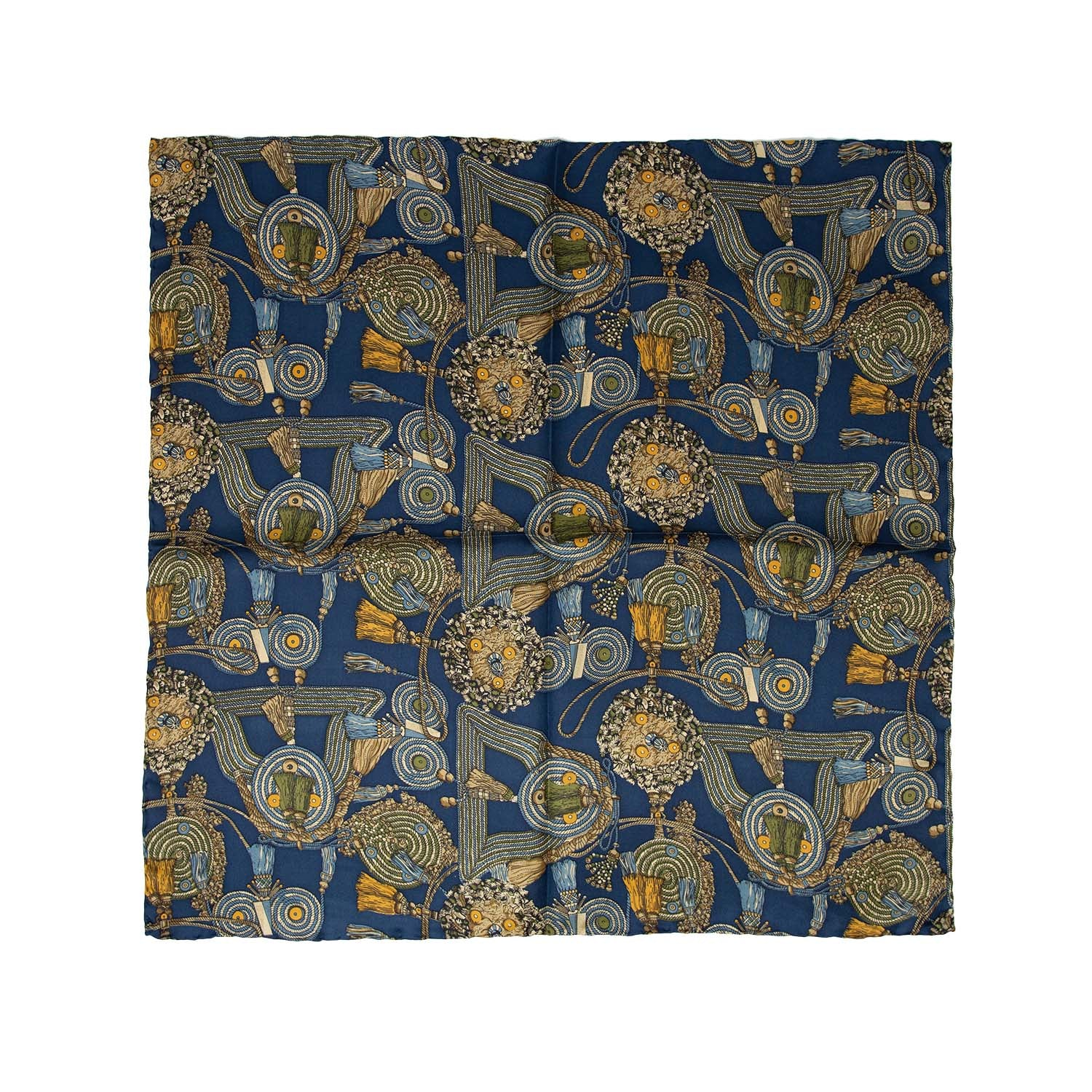 Navy Blue with Ropes Vintage Pattern Pocket Square