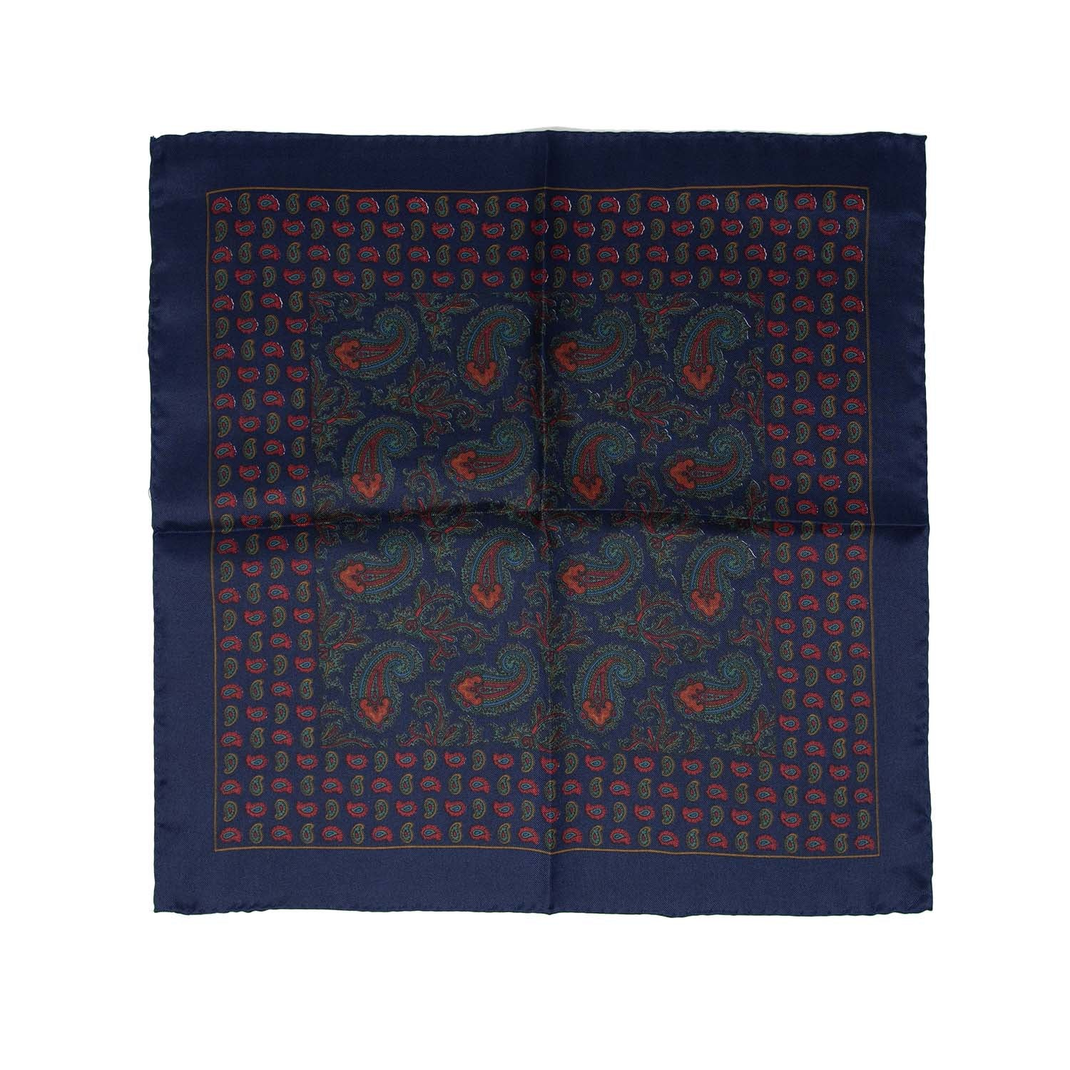 serà fine silk - Navy Blue with Paisley Pattern Pocket Square