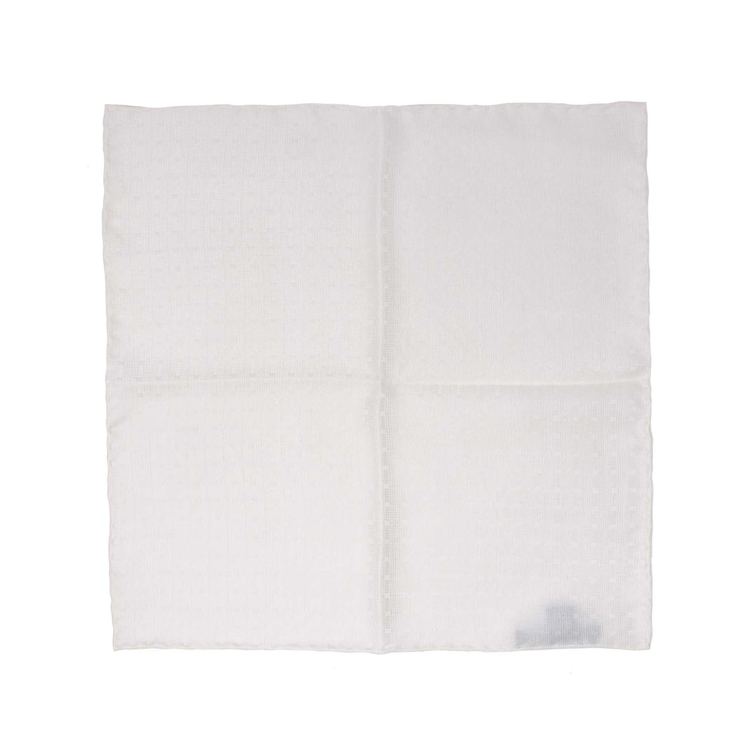 White Textured Silk Pocket Square