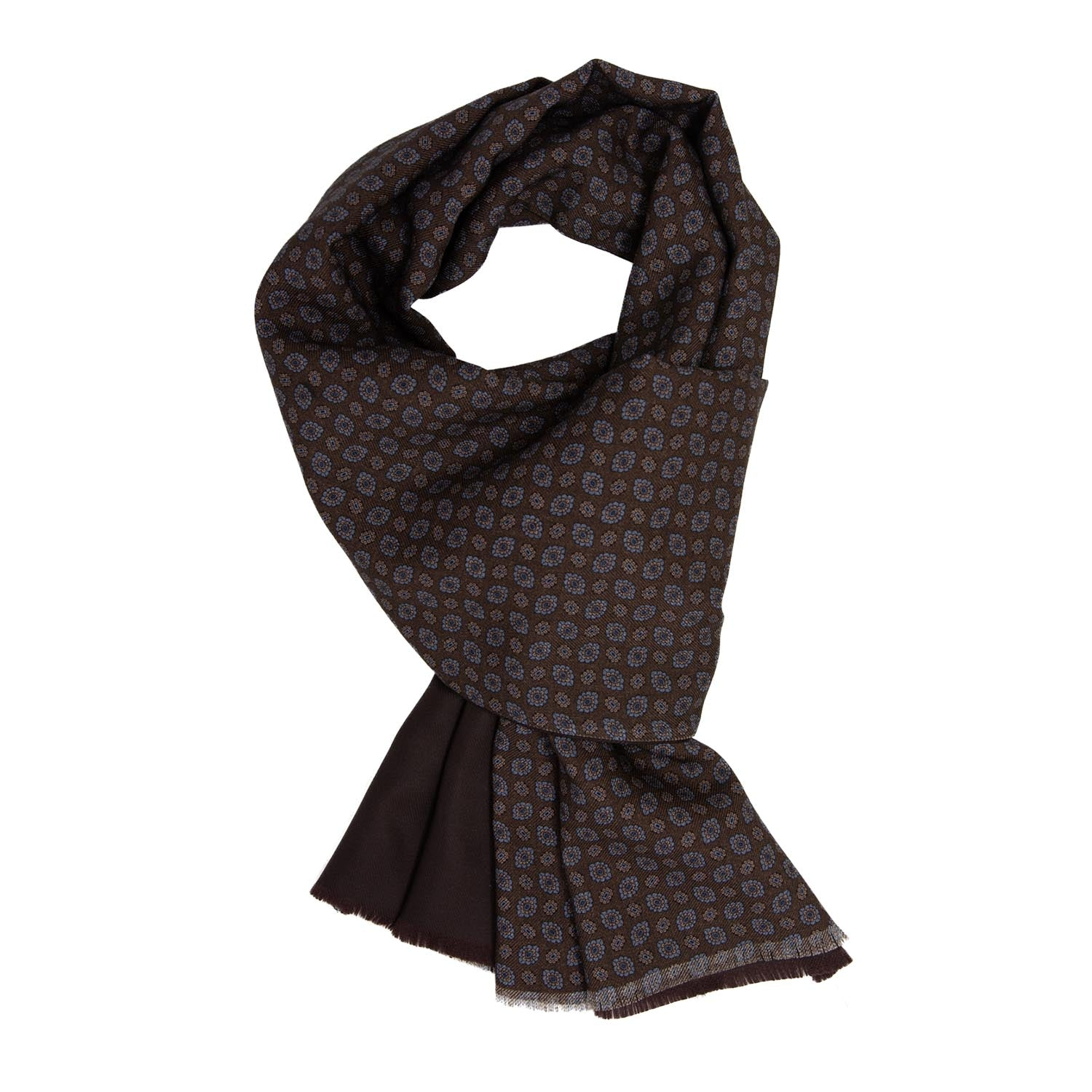 serà fine silk - Brown Pattern Silk & Wool Scarf
