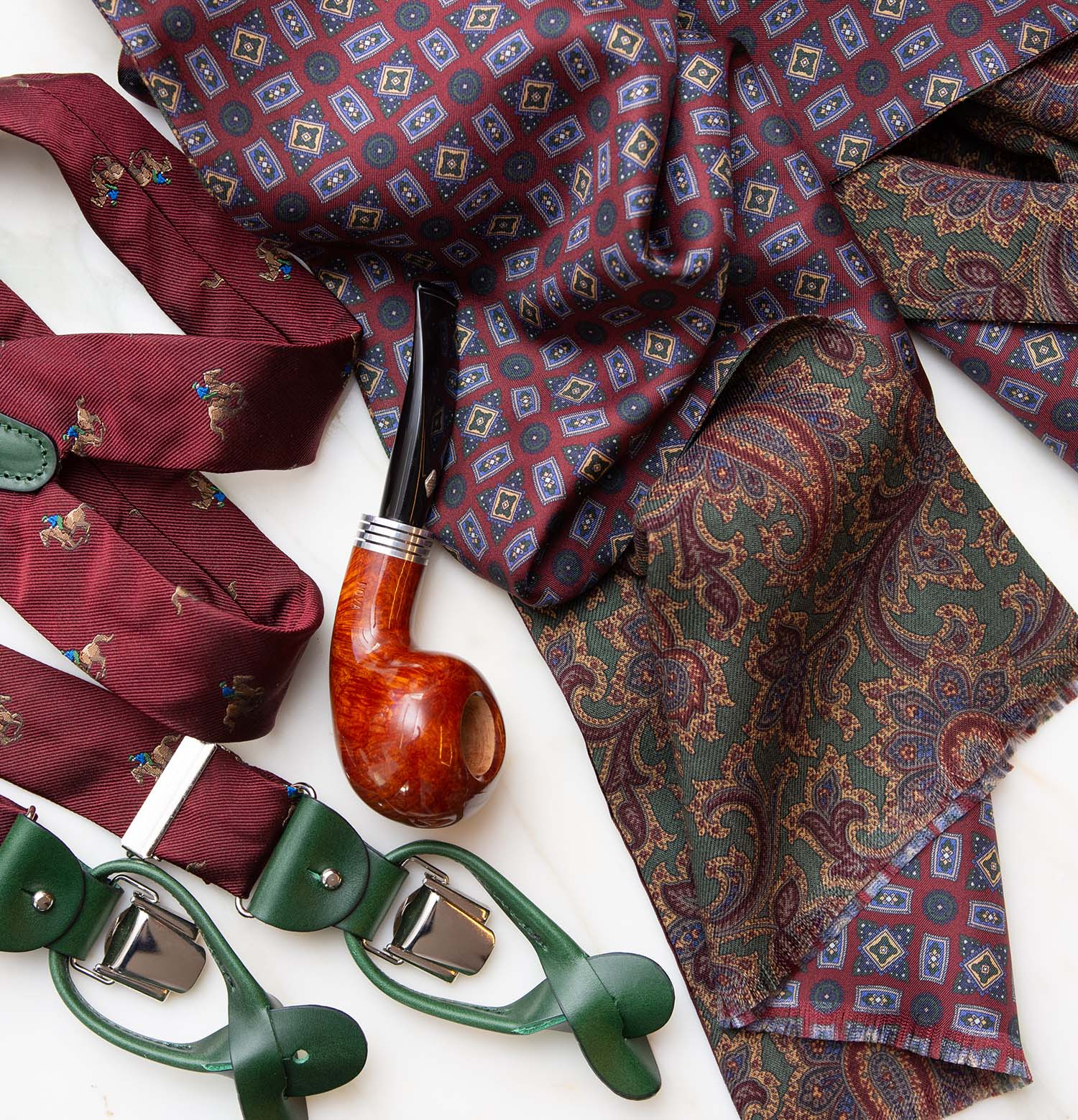 serà fine silk - Green and Burgundy Pattern Silk & Wool Scarf