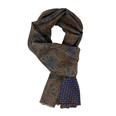 Orange and blue Paisley Habotai Silk Scarf