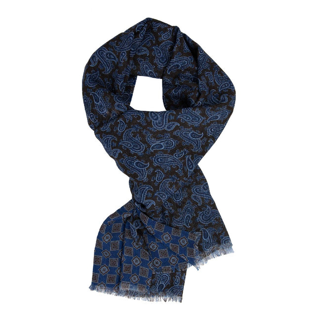 Blue and Brown Patterned Wool & Silk Scarf