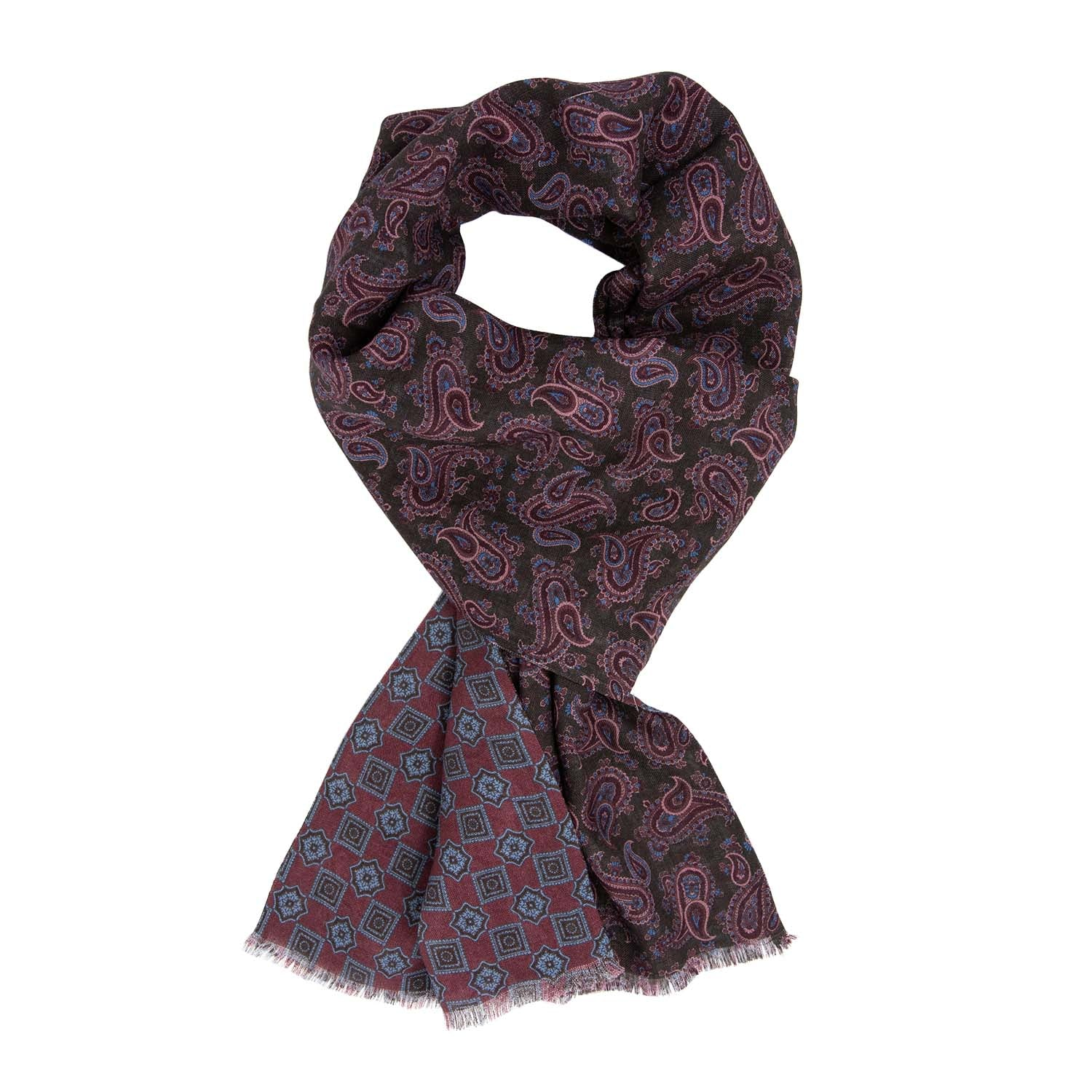 Brown and Burgundy Patterned Wool & Silk Scarf