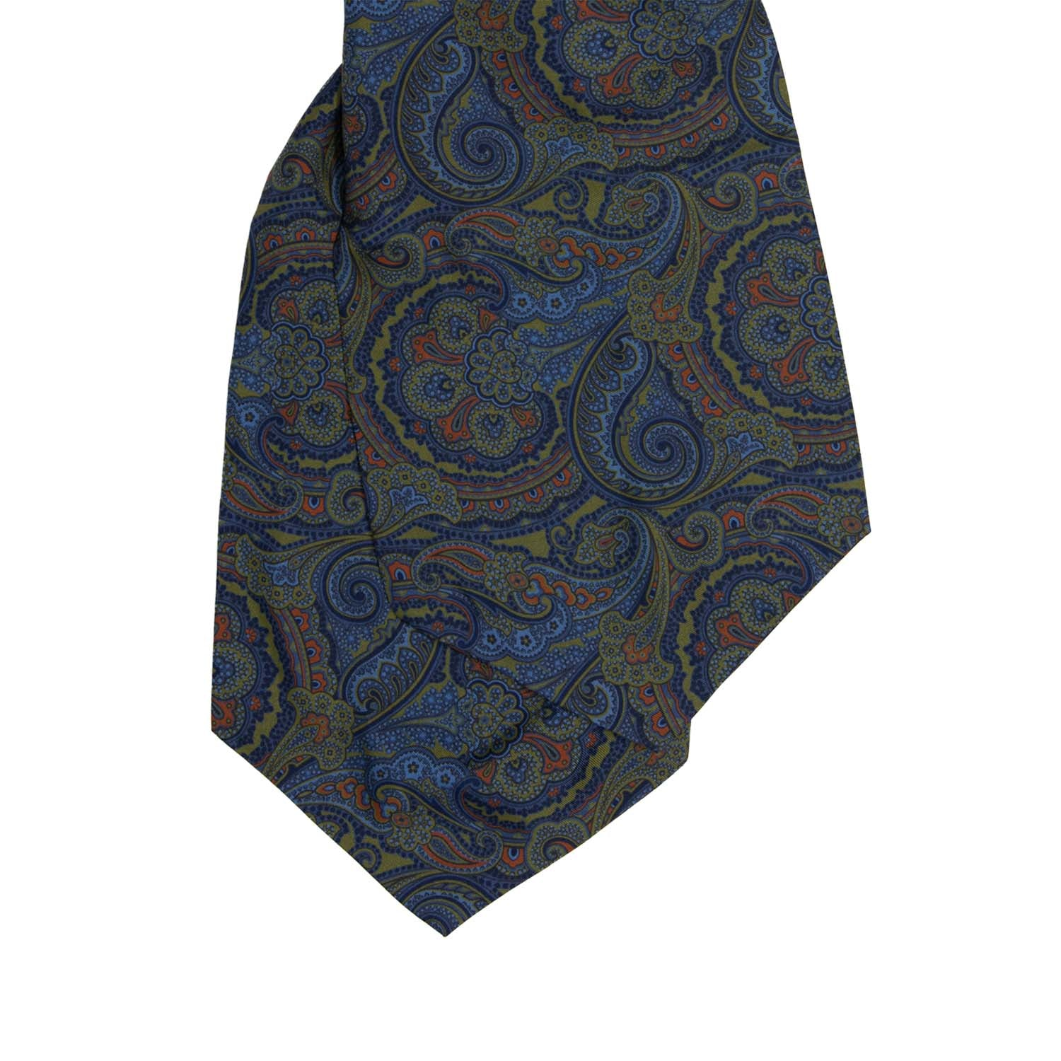 serà fine silk - Blue and Green Paisley Silk Ascot