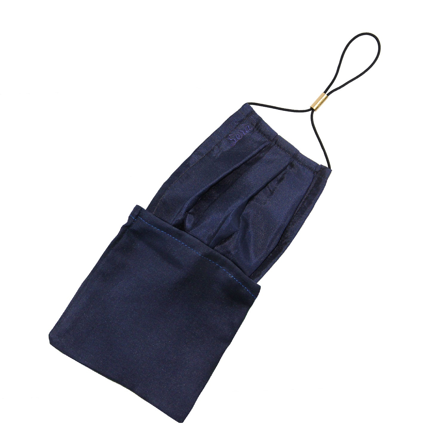 serà fine silk - Navy Blue Silk face cover with pocket